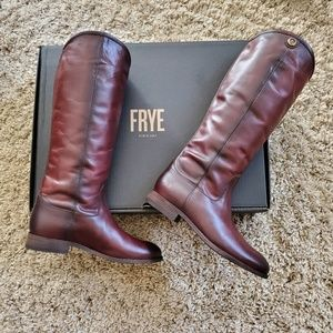 Frye Melissa Button2 Redwood Cowboy Tall Boots